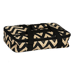 Black Chevron Burlap Casserole Carrier