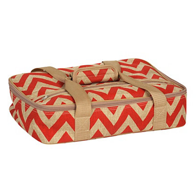 Red Chevron Burlap Casserole Carrier