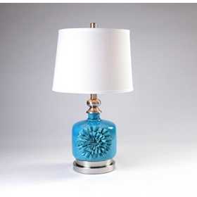 Turquoise Ruffle Table Lamp