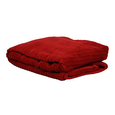Red Ribbed Throw Blanket
