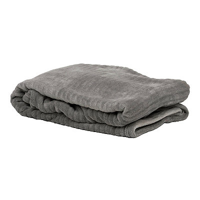 Gray Ribbed Throw Blanket