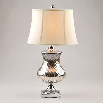 Distressed Silver Mercury Glass Table Lamp