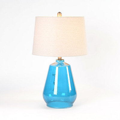 Turquoise Seeded Glass Table Lamp