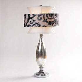 Silver Scroll Table Lamp