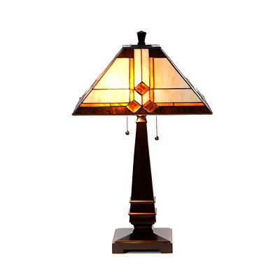 Amber and Ivory Tiffany Table Lamp