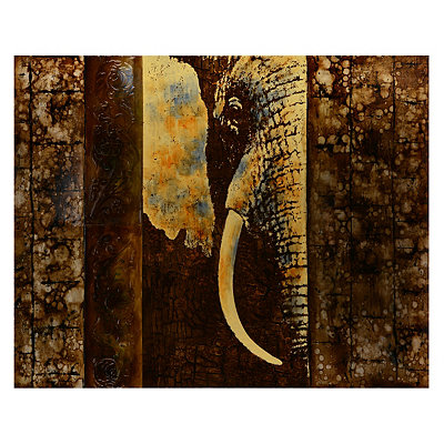 Brown Stenciled Elephant Canvas Art Print