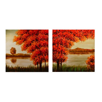 Autumn at the Lake Canvas Art Print, Set of 2