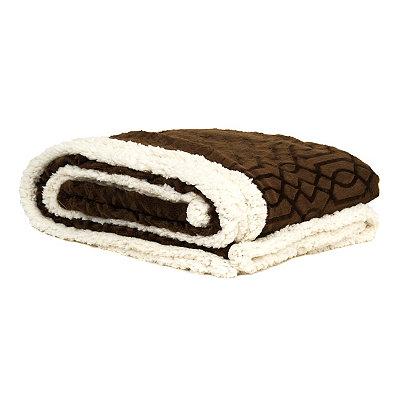 Embossed Chocolate Gatehill Sherpa Blanket