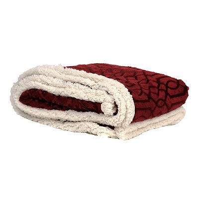 Embossed Red Gatehill Sherpa Blanket