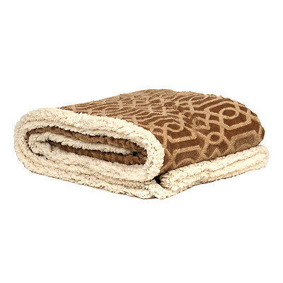 Embossed Tan Gatehill Sherpa Blanket