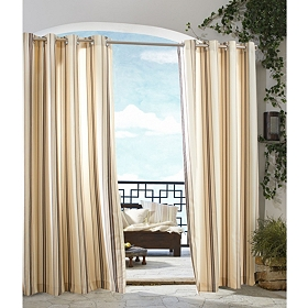 Khaki Stripe Outdoor Curtain Panel, 84 in.