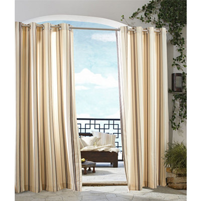 Khaki Stripe Outdoor Curtain Panel, 96 in.