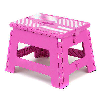 Fuchsia Stripe Step Stool