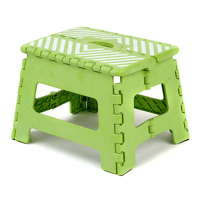 Lime Green Stripe Step Stool