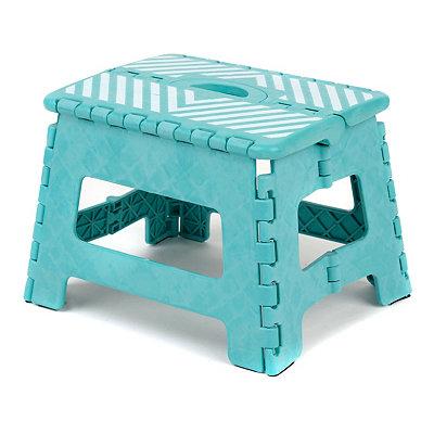 Turquoise Stripe Step Stool