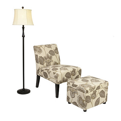 Taupe Floral Accent Furniture Set