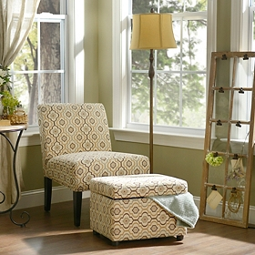 Tan Quatrefoil Accent Furniture Set
