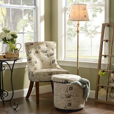 Tan Scripted Accent Furniture Set