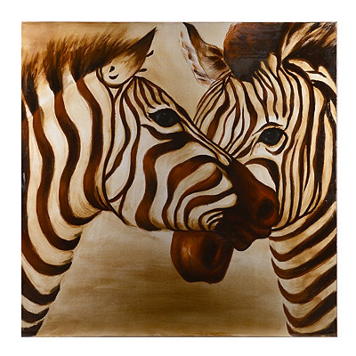 Twin Zebras Canvas Art Print