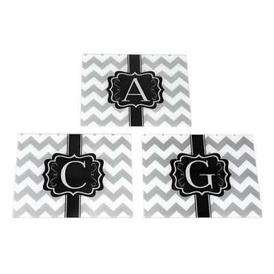Gray Chevron Monogram Cutting Boards