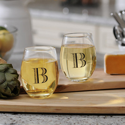 Monogram Stemless Wine Glasses, Set of 2
