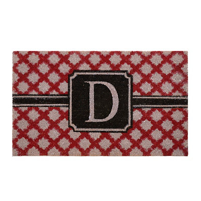 Red Trellis Monogram D Doormat