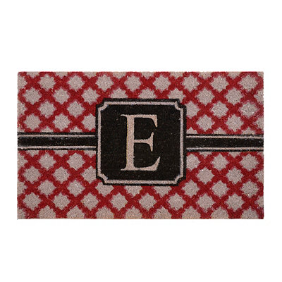 Red Trellis Monogram E Doormat