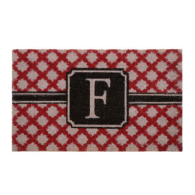 Red Trellis Monogram F Doormat