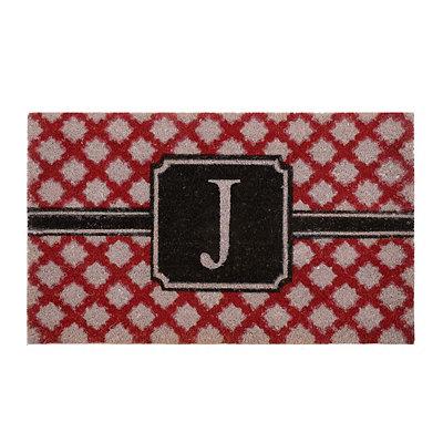Red Trellis Monogram J Doormat
