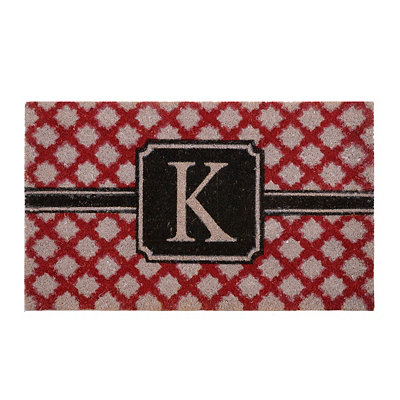 Red Trellis Monogram K Doormat