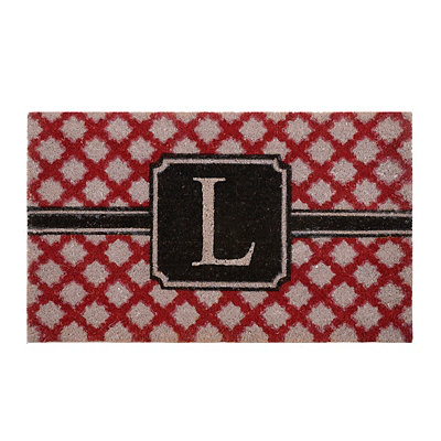 Red Trellis Monogram L Doormat
