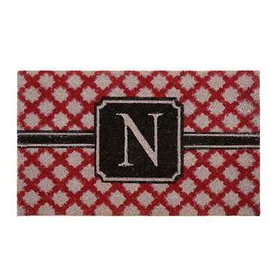 Red Trellis Monogram N Doormat