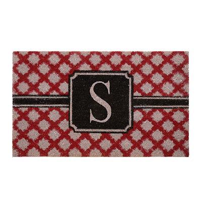 Red Trellis Monogram S Doormat