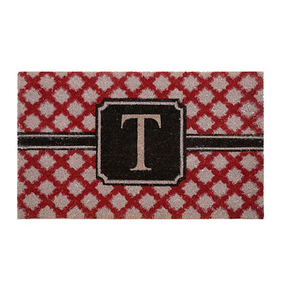 Red Trellis Monogram T Doormat