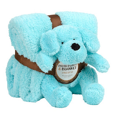 Blue Dog & Blanket Gift Set