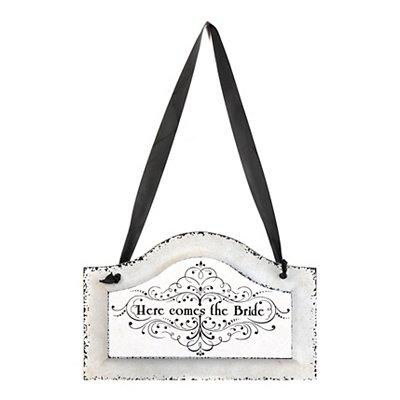 Here Comes the Bride Distressed Ivory Plaque