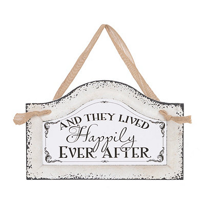 Happily Ever After Distressed Ivory Plaque