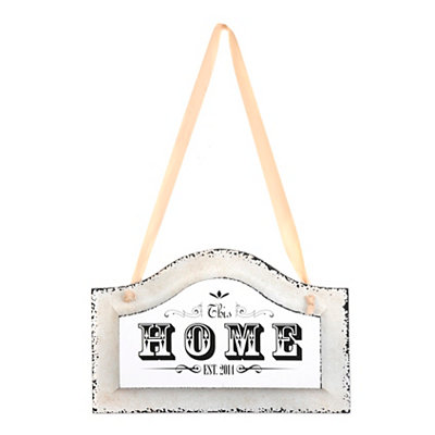 This Home Distressed Ivory Plaque