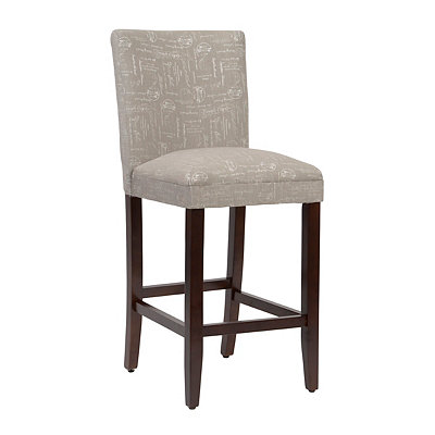 Gray Script Bar Stool