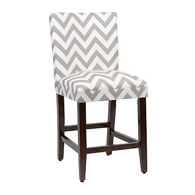 Gray Chevron Counter Stool