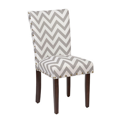 Gray Chevron Parsons Chair