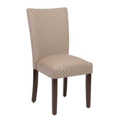Tan Quatrefoil Parsons Chair