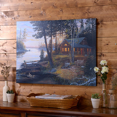 River Cabin Canvas Art Print