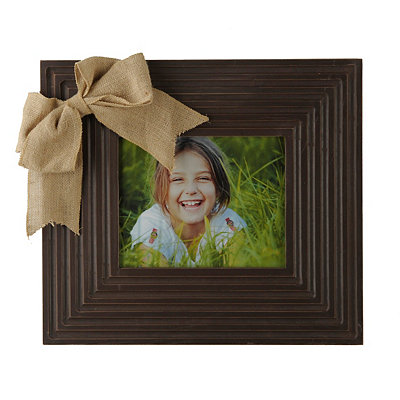 Distressed Brown Burlap Bow Picture Frame, 8x10