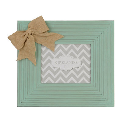 Distressed Blue Burlap Bow Picture Frame, 8x10