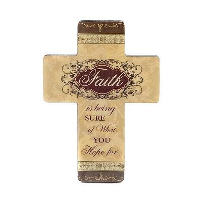 Cream & Brown Faith Cross Plaque