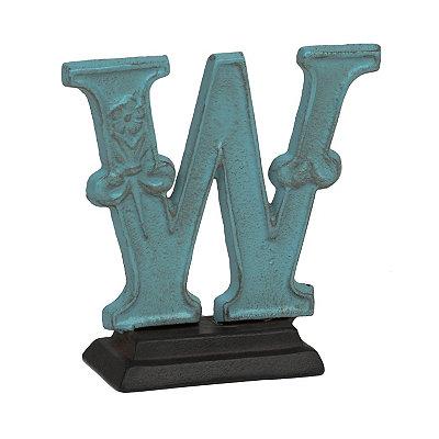 Blue Monogram W Cast Iron Statue