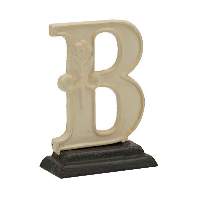 Cream Monogram B Cast Iron Statue