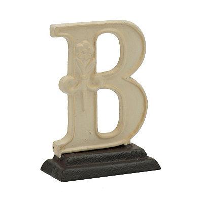 Cream Monogram B Cast Iron Statue