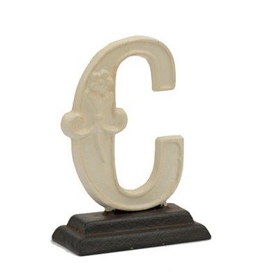 Cream Monogram C Cast Iron Statue
